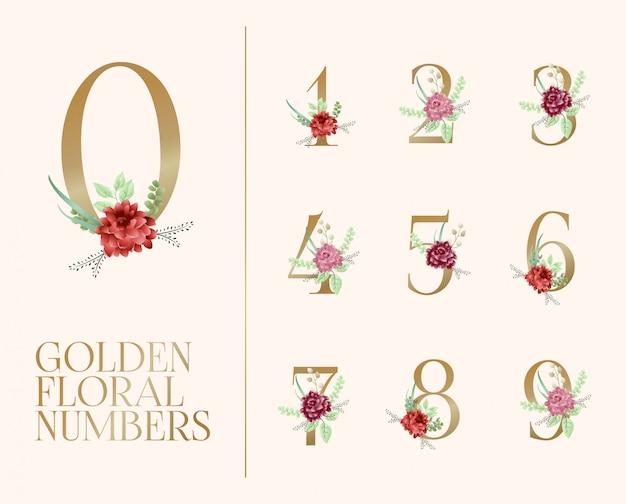 Colección de números florales dorados.