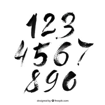 Colección de números negros en estilo de tiza
