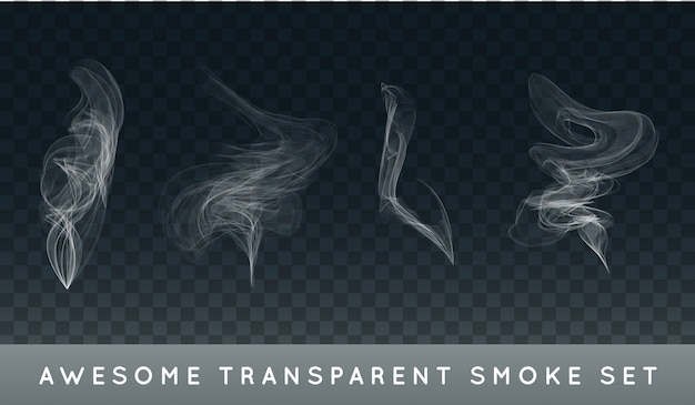 Colección o conjunto de humo de cigarrillo realista o niebla o neblina.