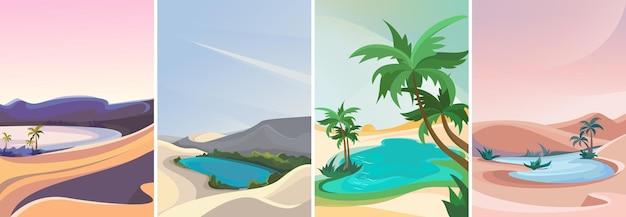 Colección de oasis. paisajes de la naturaleza en orientación vertical.
