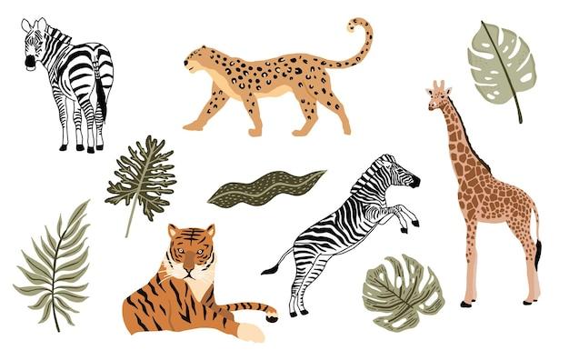 Colección de objetos de animales de safari con leopardo, tigre, cebra, jirafa. ilustración para icono, pegatina, imprimible