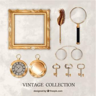 Colección de objetos antiguos realistas