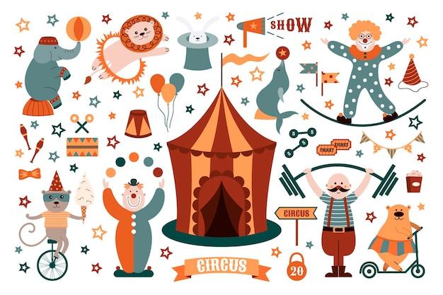 Colección de objetos de circo conejo, payaso, oso, león, elefante, foca