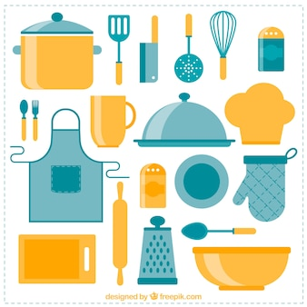 Colección de objetos de cocina en diseño plano