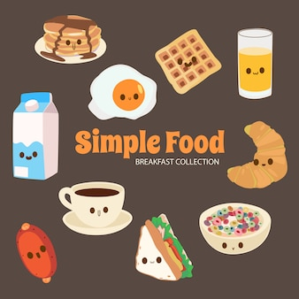 Colección de objetos de comida lala cute rainbow