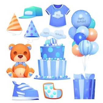 Colección de objetos de cumpleaños de niño de dibujos animados