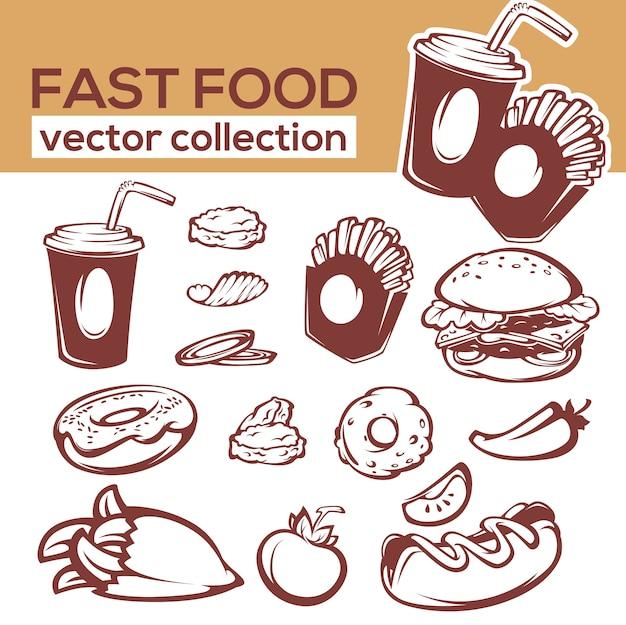 Colección de objetos e ingredientes de comida rápida para su menú americano.