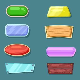 Colección de objetos de la interfaz del menú del juego de computadora
