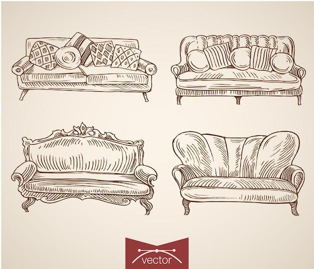 Colección de objetos interiores de muebles dibujados a mano vintage de grabado.