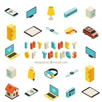 Colección de objetos isométricos con internet