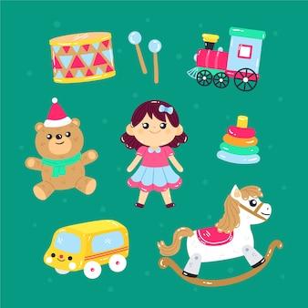 Colección de objetos de juguete para niños.