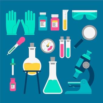 Colección de objetos de laboratorio de ciencias.