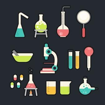 Colección de objetos de laboratorio de ciencias