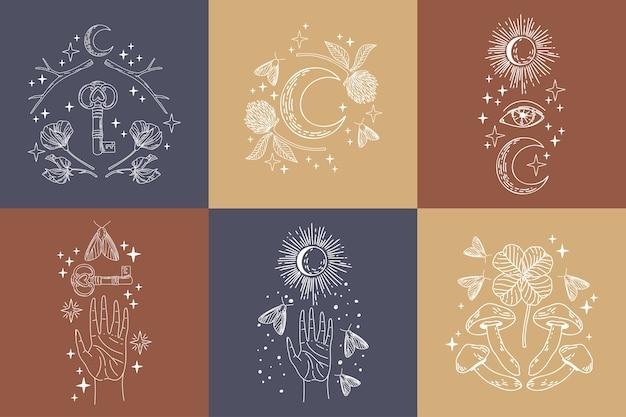 Colección de objetos de logotipo místicos y misteriosos. objetos de arte de línea mágica minimalista en estilo de tendencia.