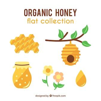 Colección de objetos de miel