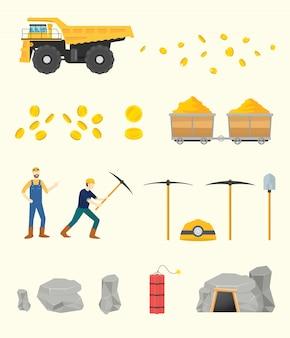Colección de objetos de minería de oro