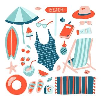 Colección de objetos de playa de verano dibujados a mano.