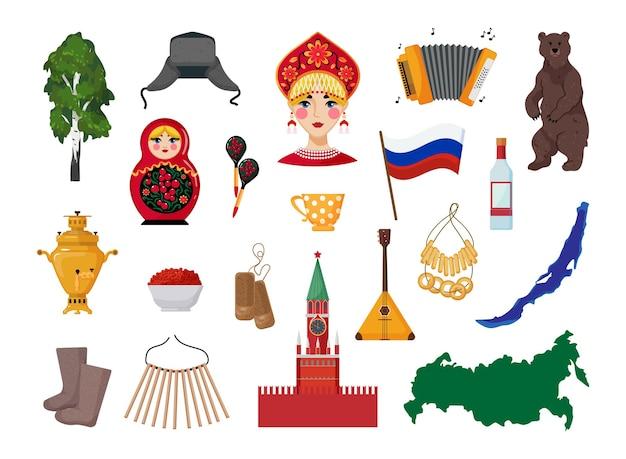 Colección de objetos de rusia