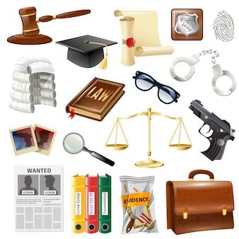 Colección de objetos y símbolos de la ley de justicia