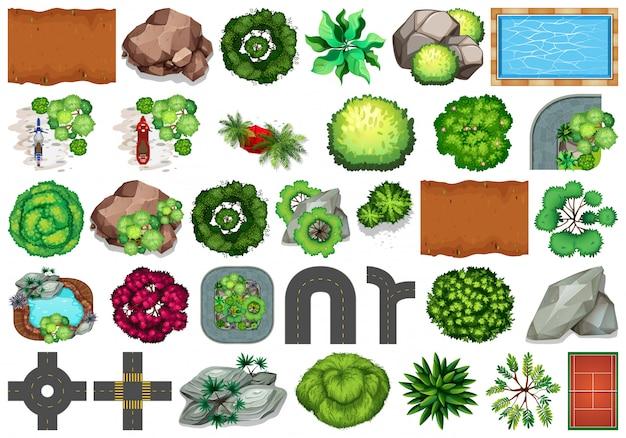 Colección de objetos temáticos de naturaleza al aire libre y elementos vegetales.