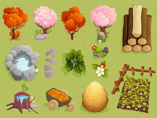 Colección de objetos temáticos de la naturaleza al aire libre y elementos vegetales.