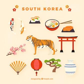 Colección de objetos típicos de corea del sur