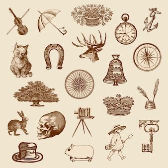 Colección de objetos victorianos vintage