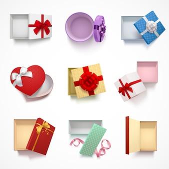 Colección de ocho cajas de regalo realista aisladas en la parte superior con tapa superior y diferentes patrones de adornos