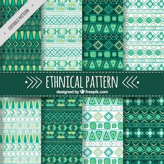 Colección de ocho patrones étnicos en tonos verdes