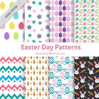 Colección de ocho patrones de pascua en diseño plano