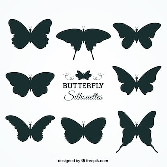 Colección de ocho siluetas de mariposas