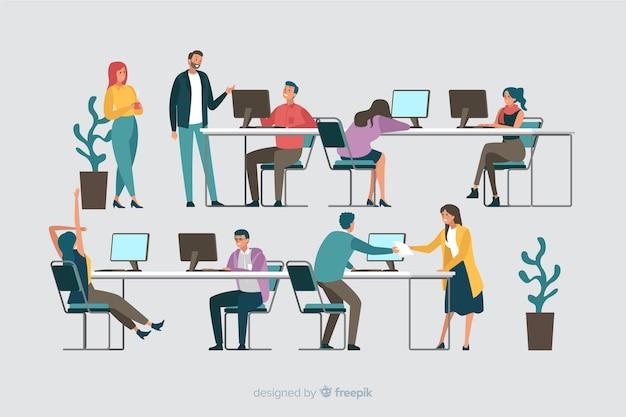 Colección de oficinistas sentados en escritorios