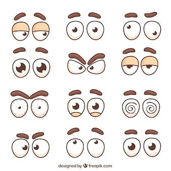 Colección de ojos de personajes y cejas