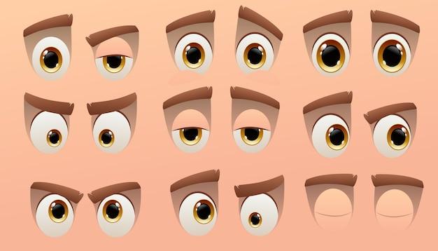 Colección de ojos de personajes lindos de dibujos animados