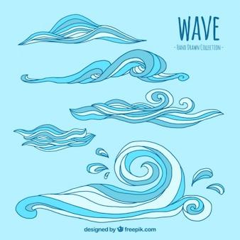 Colección de olas dibujadas a mano