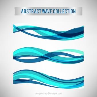 Colección de ondas abstractas en tonos azules