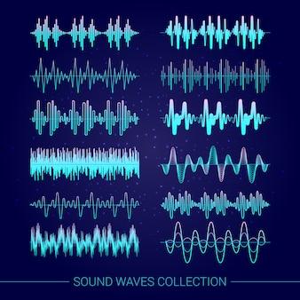 Colección de ondas de sonido con símbolos de audio sobre fondo azul