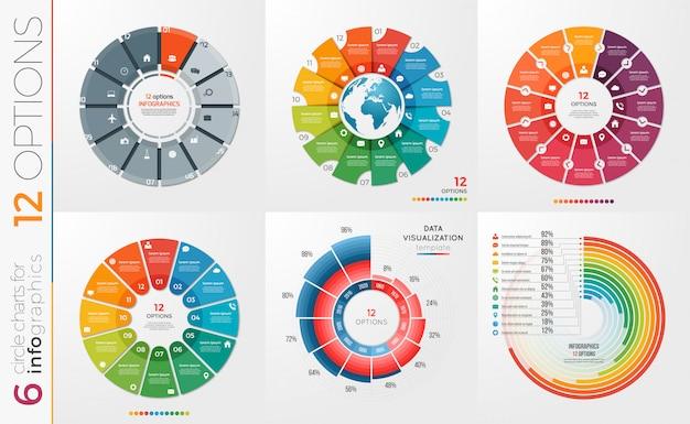Colección de opciones de plantillas de gráfico circular.