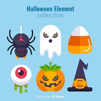 Colección original de elementos de halloween con diseño plano