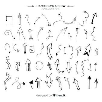 Colección original de flechas dibujadas a mano
