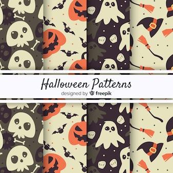 Colección original de patrones de halloween con estilo vintage