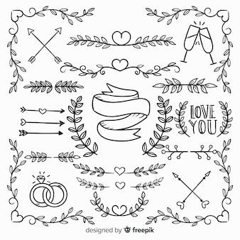Colección de ornamentos de amor dibujados a mano