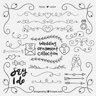 Colección ornamentos dibujados a mano boda