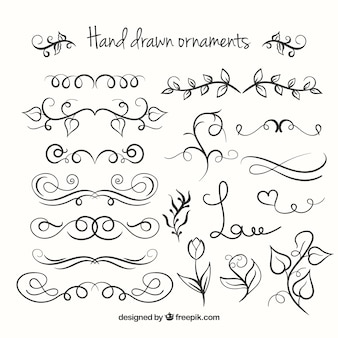 Colección de ornamentos dibujados a mano