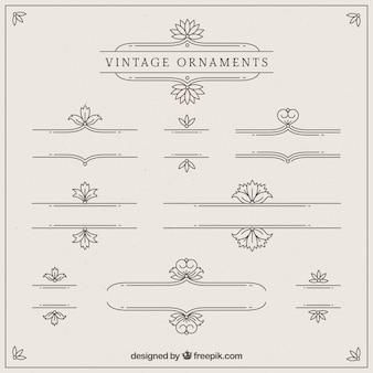 Colección de ornamentos en estilo vintage