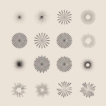 Colección de ornamentos de estrellas y rayos de sol
