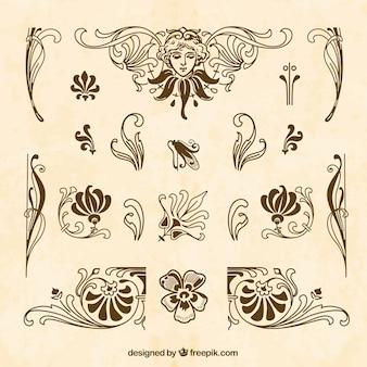 Colección de ornamentos marrones dibujados a mano