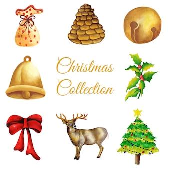 Colección de los ornamentos de la navidad de la acuarela