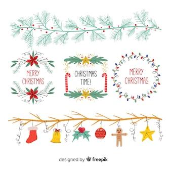 Colección ornamentos navidad dibujados a mano