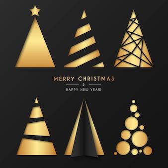 Colección de oro del árbol de navidad en estilo moderno